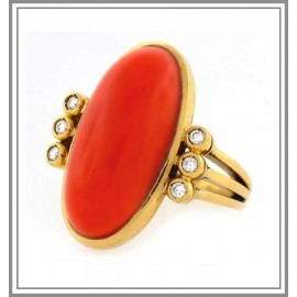 Red Coral and Diamond Gold Ring
